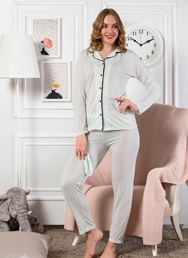 Elitol Önden Düğmeli Uzun Kol Pijama Takım Yeşil